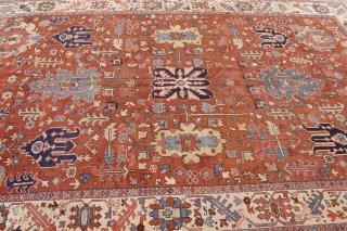 "Antique Persian Heriz Serapi rug, circa 1880-1900 , 8'2"" x 11'4""ft. great condition."