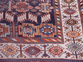 "Antique Persian Qashqai rug, 5'6"" x 10'4"" circa 1880's or older, blue background."