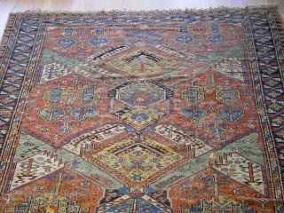 "large antique Caucasian Soumak rug, 6'9"" x 10'9"" , has wears and a few small holes,some old restoration,  100% wool, c. 1860's-1880's"