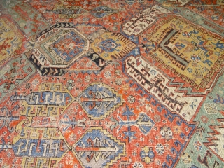 """large antique Caucasian Soumak rug, 6'9"""" x 10'9"""" , has wears and a few small holes,some old restoration,  100% wool, c. 1860's-1880's"""
