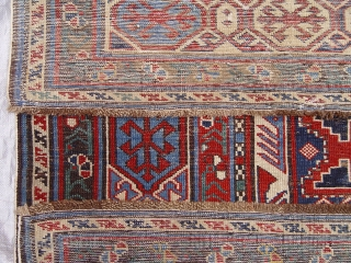 "Antique Lesghi Caucasian, size 4'4"" X 8'5"" ft.  dated 1244 , 100% Wool, some re-knotting and restoration on both ends professionally done, no tinting , sides and ends are intact.   ..."