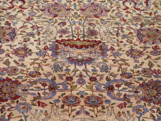 """Phenomenal Antique Persian pictorial large Kashan circa 1850 -1880, the size is 12'9"""" x 19'4"""" (390 x 590 cm ), spectacular design and colors, wonderful original condition with some minor areas of  ..."""