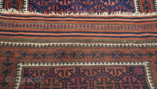 """Antique Baluch rug, Blue/green background, size is 3'7"""" x 5'6"""" ft. ( 109 x 168 cm.) very good original condition, no repairs/no restoration, hand washed & cleaned professional just recently."""