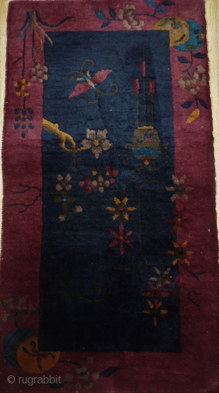 "Antique Art Deco Chinese Oriental rug, ca. 1920, 2'x3'9""ft. (61 x 115 cm.), wonderful condition, has been hand washed and cleaned professionally just recently, no repairs, no wears."