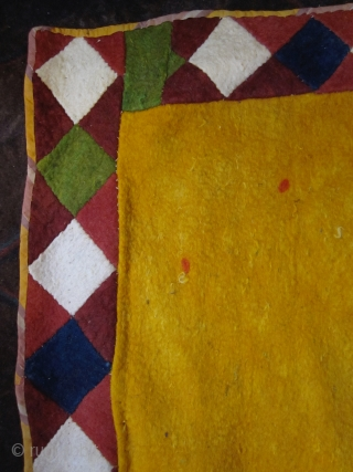 Uzbek felt, northern Afghanistan, lovely yellow and rare drawing