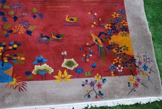 "1st Qtr. 20th c. Nichols Chinese carpet.         Size:  9'3"" x 11'7"".  A Few areas of wear, but has good  ..."
