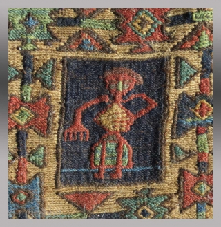 """Shahsevan """"Chanteh"""" (personal bag), NW Persia/Azerbaijan(?), 19th C.,  6"""" x 8""""   """"Chanteh"""" are small bags woven by women in which they would keep their personal effects of any value, ie. small jewelry  ..."""