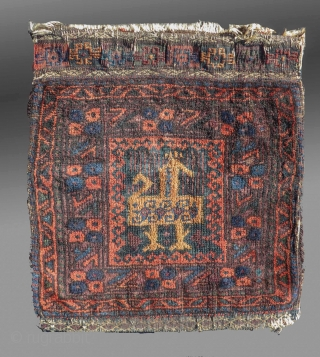 """Baluch Bag, W. Afghanistan, late 19th C/early 20th C(?), 1'2"""" x 1'3""""  A small bag, possibly a chanteh (personal bag), all natural dyes, good patina/age  SOLD"""