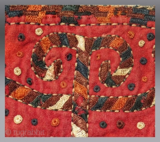 """Yomut Turkmen Embroidery, Central Asia, circa 1850, 10""""x  9"""" (mounted)  Please inquire for further details / information"""