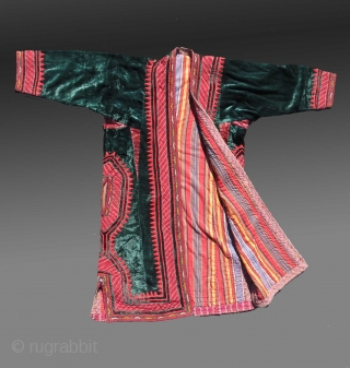 Tekke Turkmen Coat, Central Asia, circa 1925(?)  Good condition, an authentic garment with green silk velvet ground and embroidery that indicates the period  $500 including domestic USA shipping