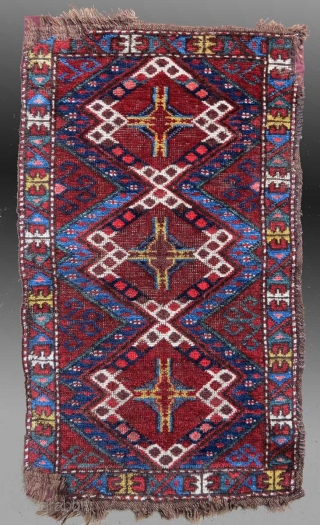 """Non Turkmen Central Asian/Uzbek(?) """"karshin"""" (bag face), late 19th Century, 1'6"""" x 2'6""""  A colorful bag face displaying a well composed and balanced design.  The colors are mostly derived from natural dyes; only the  ..."""