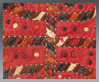 """Yomut Turkmen Embroidery, Central Asia, circa 1850, 10""""x  9""""  An old and rare embroidered """"bokche"""" (small personal bag, originally folded in an envelope shape), made by women for themselves and used for  ..."""