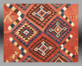 """Kilim from east Afghanistan, approx 4' x 10', early 20th century  An rare weaving from Afghanistan, a type that is known as """"Mokhari"""" in the Afghan marketplace, named after the marketplace village of  ..."""