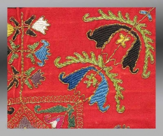 """Uzbek Kungrad(?) Embroidery, Central Asia, circa 1870, 2' 4"""" x 2' 4""""  A very unusual example of Uzbek embroidery that may be loosely called """"Lakai"""".  The design is very different, seemingly reflecting  ..."""
