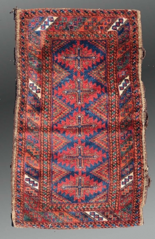 """Baluch Balisht, SE Persia, 1'6"""" x 2'7"""", circa 1900(?)  Saturated palette, all natural dyes, good condition.  Complete original flat woven back (which is unusual), woven in one piece with as a kilim extension of  ..."""