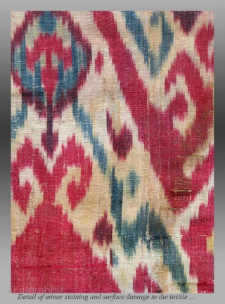 "Uzbek Ikat Panel, Central Asia, 19th century,	11""	x 3' 3""