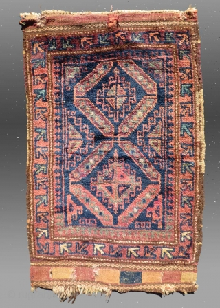 """Baluch Bag Face, W. Afghanistan, 19th C., 2'1"""" x 3'4""""  Good condition, no repairs, all natural dyes  $275"""