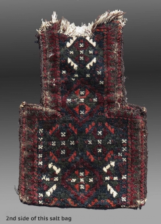 """Baluch Salt Bag, SE Persia, 19th C., 1'2"""" x 1'7""""  condition evident, no repairs - wear at the opening, all natural dyes  $325 including domestic USA shipping"""