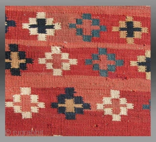 """Baluch Kilim, SE Persia, 19th C.,  4'11"""" x 9'8""""   An extraordinary weaving that explores a depth of field created through the use of color (the abrash of the red ground color) to  ..."""