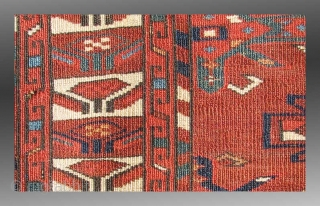 """Turkmen Chuval, Yomud Group(?), Central Asia, 19th Century, approx 3'6"""" x 2'5""""  An excellent example of Turkmen weaving from Central Asia.  Woven with an asymmetric knot, open to the right, the attribution  ..."""