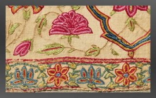 "Embroidery (fragment), Gujarat, mid 19th Century, 3' 4"" x 8""