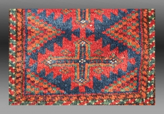 """Baluch 'Balisht', SE Persia, 1'6"""" x 2' 6""""  Complete with the original back, woven in one piece (not sewn on after weaving) and in good condition with natural dyes.  $325 (domestic US shipping included)"""