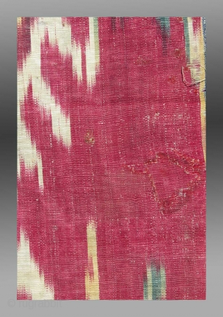 """Uzbek Ikat Panel (fragment), Central Asia, 19th C., 10"""" x 2'10""""  Condition apparent in final detail image - small 'repair'  Unusual design  $550 including domestic USA shipping"""