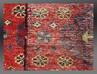 """Kurd Mafrash Panel,  W(?) Persia, 19th C., 1'10' x 1'7""""  Saturated palette, good pile, no repairs  $450 (domestic USA shipping included)"""