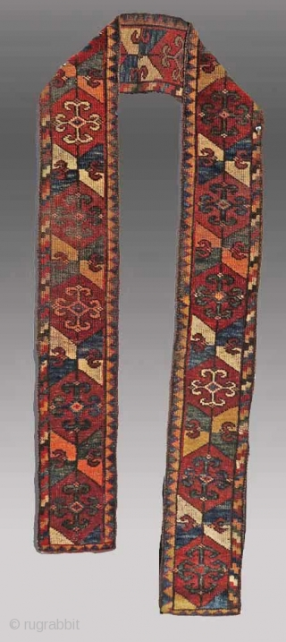 "Uzbek Band (full pile, complete - not cut), Central Asia, 19th C., 8"" x 9' 4"""