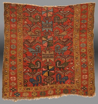 "Kurdish Rug Fragment, NW Persia, 19th C. approx.. 3' 6"" x 3'6""