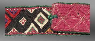 """Turkmen Belt(?)/Band, Ersari (?) group, 19th century, middle Amu Darya region of Central Asia, 2"""" x 2'11""""  Assigning attributions of some Turkmen textiles is problematic and the origin of this example may not  ..."""