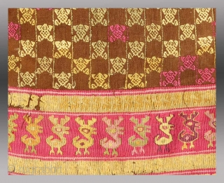 """Chimu Tunic (fragmented), Central Coast of Peru, circa 1400, 1'7' X 1' 6""""  Undoubtedly those responsible for coining the term, """"textile art"""" may have had just such a weaving in the mind's eye.  ..."""
