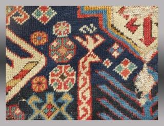 """Akstafa Rug Fragment, Caucasus region, 19th century, 2'4"""" x 2'10"""""""