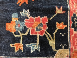 lovely tibetan sitting rug, central tibet, ca. 1920, 72 x 67 cm, framed with the traditional broadcloth, three little local restoration as seen on photos