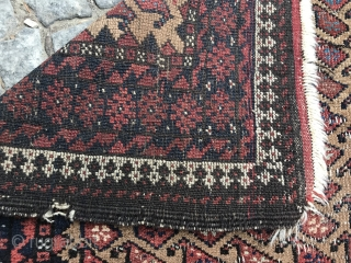 really old camel ground baluch rug, shirazi has open parts and some areas are worn, no restoration, as found,