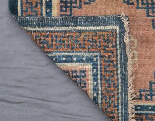 tibetan sitting rug, central tibet (tsang), 19th century, 64 x 60 cm, khamdrum style, good pile, oily wool, corner restorations