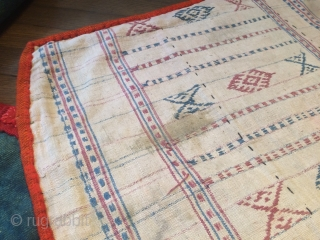 "nambu textile with archaic tigma motif, monastic bench cover, different backings, central tibet, ca. 1900, 342 x 72 cm, 11'3"" x 2'3"", good condition"