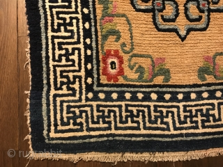 "charming tibetan khaden, central tibet, late 19th century, 160 x 74 cm, 5´3""x 2´5"", wool on wool, all natural colors, full pile, no restoration, ends original."