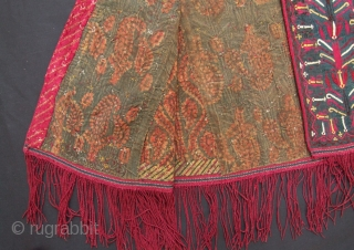 A fine example of a Tekke Turkoman women's mantle (Green), very beautiful silk embroidered stylized tulips. Superb condition. Circa: Mid to late 19th century. www.tinatabone.com