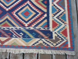 """Qashqai Kilim 57"""" x 79""""  Vibrant colors, very slight soiling and no other problems. $400 plus shipping"""