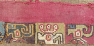 Three Pre-Columbian textile fragments, 14 x 4, 18 x 3, 26 x 5 inches. As a lot, or sold separately. Mounted on linen.