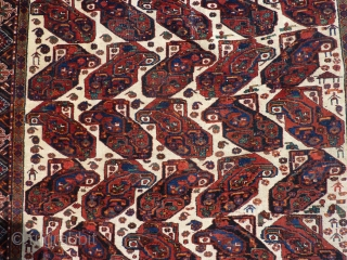 """Classic Afshar beauty 73"""" x 54""""  Recently hand cleaned by an expert.  Wear/creasing in center as shown in pictures.  $675 inc shipping within US."""