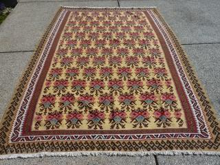 "Extremely Decorative Semi-Antique Bijar (?) Kilim  9'4"" by 78"""