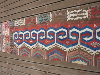 """Early part of 19th C Kona Kilim half.  13' 6"""" x 34""""  many old repairs but fairly complete. SOLD THANK YOU!"""