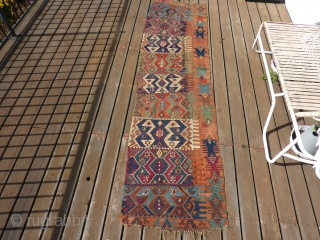 "19th Century Anatolian kilim half with rare apricot background. 31"" x 9' 10"""