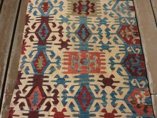 "Antique Anatolian kilim half 33"" x 11' 6"""