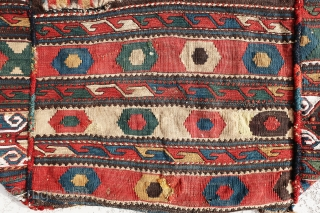 Extremely gorgeous, antique, Shahsavan Gharadagh complete mafrash sumac, the large panels have sumac weave and the small panels have killim weave, very colorful, cotten are used, small holes shown clearly on the  ...