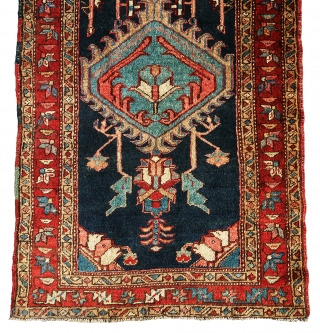 """Extremely gorgeous and rare serapi/heriz runner in full pile without having any problems, all colors are natural, full pile all over. Size is 13'-10""""x3'."""