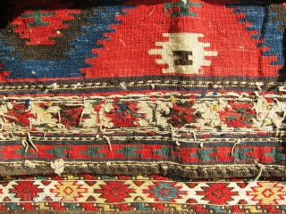 "Very colorful, antique, large, sumac and killim Shahsavan Cargo bag, extremely gorgeous piece. Size: 3'x2'-10""."