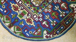 circle embroidery wool on linen, no: 235, size: 74*72cm.